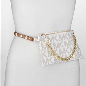 Micheal Kors White Logo Belt Bag